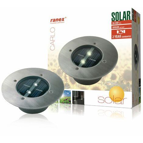 Ranex Lampe solaire Ronde 0,12 W Argenté 5000.197