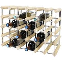 Range-bouteilles, Etagère à Vin , 30 bottles, 61,2 x 42 x 22,8 cm, Bois naturel, Dimensions: 61,2 x 42 x 22,8 cm