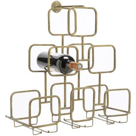 Range-bouteilles pyramide en métal doré 6 bouteilles 47 x 20 x 49 cm - Or