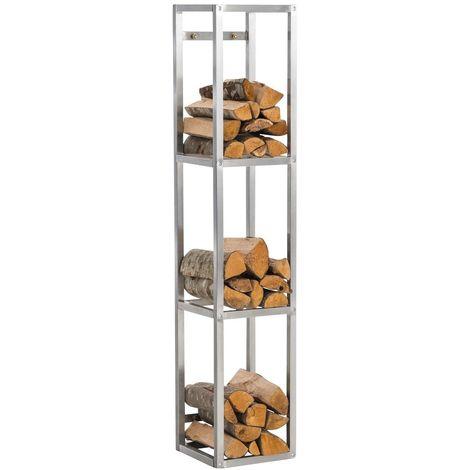 Range-bûches avec 3 étagères de rangement acier Inoxydable 150x30x30