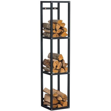 Range-bûches avec 3 étagères de rangement150x30x30 métal mat noir