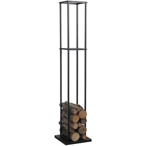 Range-bûches en métal noir - Dim : 34 x 34 x 160 cm