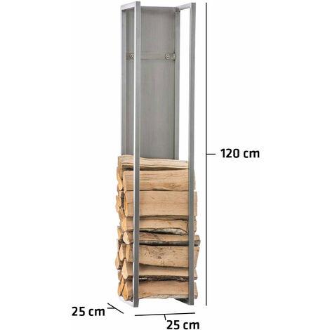 Range-bûches étagère en acier inoxydable bois de cheminée 25x25x120 cm