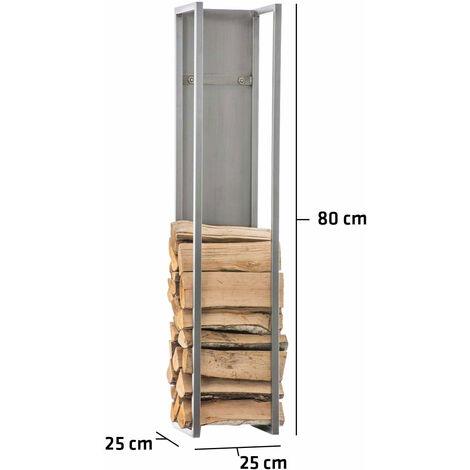Range-bûches étagère en acier inoxydable bois de cheminée 25x25x80 cm