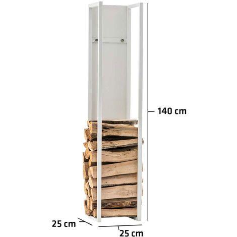 Range-bûches étagère en métal blanc bois de cheminée 25x25x140 cm