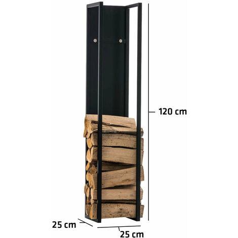 Range-bûches étagère en métal noir bois de cheminée 25x25x120 cm - noir