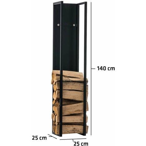 Range-bûches étagère en métal noir bois de cheminée 25x25x140 cm - noir