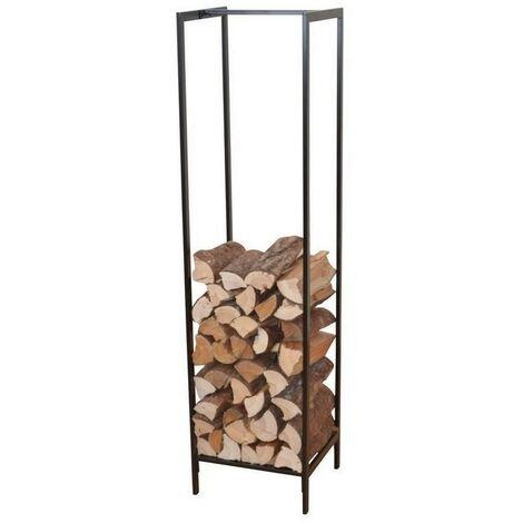 Range-bûches / étagère pour bois en métal noir 140 cm