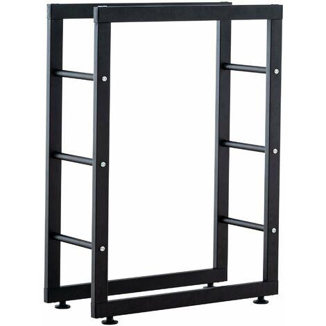 Range-bûches étagère support bois de cheminée 25x100x125 cm métal mat noir - noir