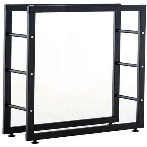 Range-bûches étagère support bois de cheminée 25x100x80 cm métal mat noir - noir