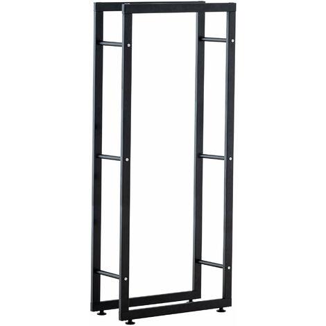 Range-bûches étagère support bois de cheminée 25x40x125 cm métal mat noir - noir