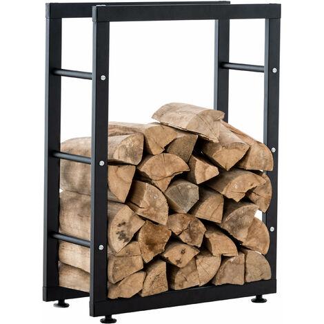 Range-bûches étagère support bois de cheminée 25x80x125 cm métal mat noir - noir