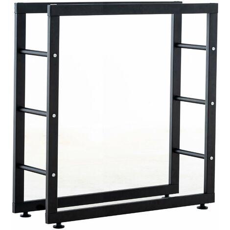 Range-bûches étagère support bois de cheminée 25x80x80 cm métal mat noir - noir