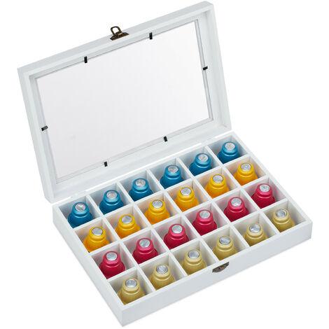 range capsule Nespresso, pour 24 capsules à café, porte-capsules, bois, HLP: 6 x 31 x 21 cm, blanc