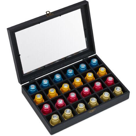 range capsule Nespresso, pour 24 capsules à café, porte-capsules, bois, HLP: 6 x 31 x 21 cm, noir