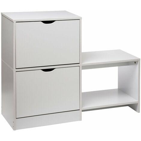 Range chaussures 2 tiroirs avec banc blanc - Blanc