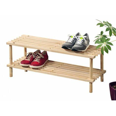 Range chaussures en bois clair - 2 niveaux