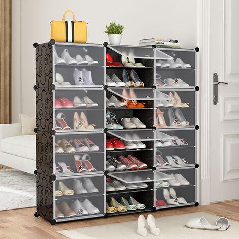 Range-Chaussures Portatif, Noir Portes Transparentes, Tablette Modulaire Gagner de la Place, Porte-Chaussures, Bottes, Pantoufles, 24 Cubes, Noir
