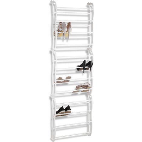 Range-chaussures portes, organiseur à suspendre, variable pour env. 36 chaussures, 12 compartiments, blanc