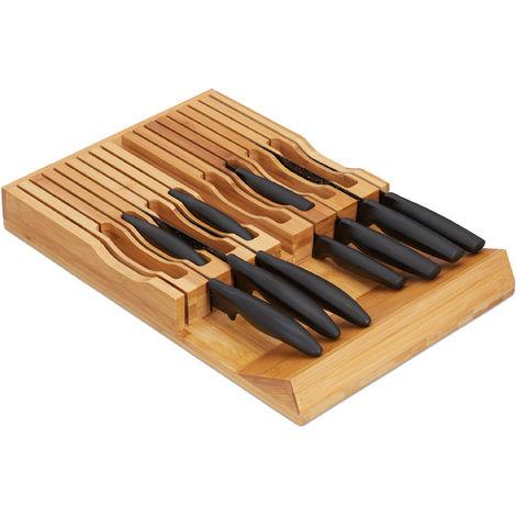 range couteaux de cuisine bambou, support couteaux pour 17 couteaux, bloc tiroir, 5 x 43 x 28,5 cm, nature