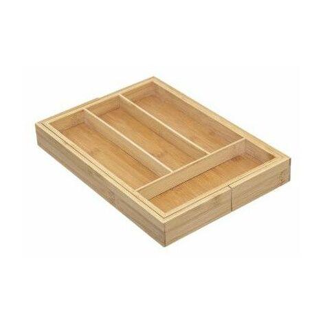 Range couverts extensible - 6 compartiments - Bambou