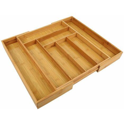 Range-Couverts organiseur de Tiroir de Cuisine en bois : 34*43-50*5cm Extensible en bambou, nature de 6 à 8 compartiments penderie bijoux cravate ustensiles de cuisine, nature - Couleur du bois