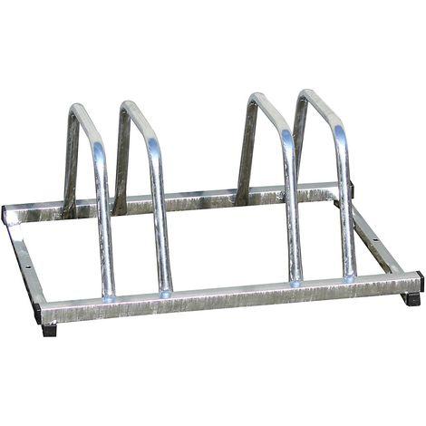 Range-vélos galvanisé, utilisable sur deux côtés – 3 places - Coloris: Gris