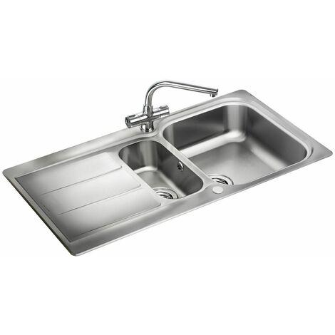 """main image of """"Rangemaster Glendale Kitchen Sink 1.5 Bowl Stainless Steel Inset FREE Waste Kit"""""""