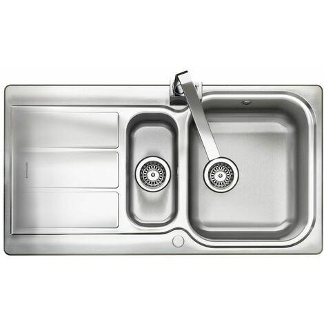 Rangemaster Glendale LH Inset Stainless Steel Kitchen Sink 1.5 Bowl FREE Waste