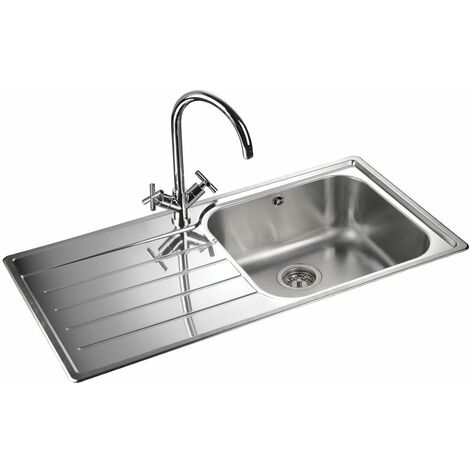 Rangemaster LH Inset Stainless Steel Kitchen Sink 1.0 Single Bowl FREE Waste