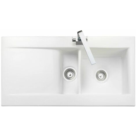 Rangemaster Nevada Ceramic 1.5 Bowl Inset Kitchen Sink White Gloss