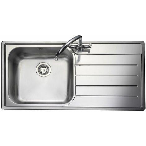 "main image of ""Rangemaster Oakland Kitchen Sink 1.0 Bowl RH Drainer Inset Stainless Steel Waste"""