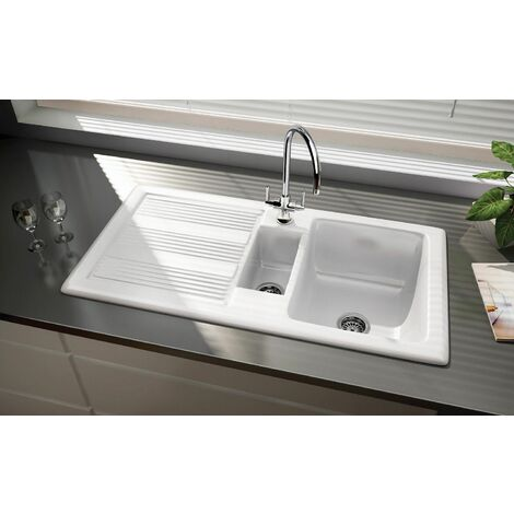 Rangemaster Portland White Inset Ceramic 1.5 Bowl Kitchen Sink Left Hand Only