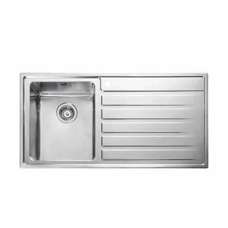 Rangemaster Rockford Kitchen Sink 1.0 Bowl RH Drainer Stainless Steel Waste Kit