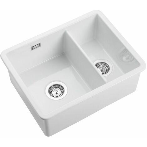Rangemaster Rustique Inset 1.5 Bowl Ceramic Kitchen Sink White FREE Waste Kit