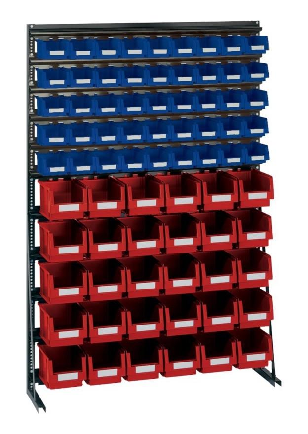 Lakape - Rangement ateliers Vario-Regal V12B avec 75 PLK-Boites bl/rouge