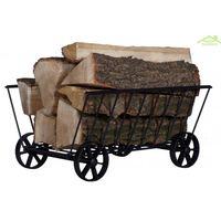 Rangement bois de chauffage avec roulettes en acier noir 50x40x25 cm