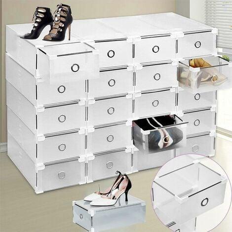 Rangement Chaussures Boîte à Chaussure de Rangement Conteneur Organisateur Robuste Transparente Empilable et Pliable (20)