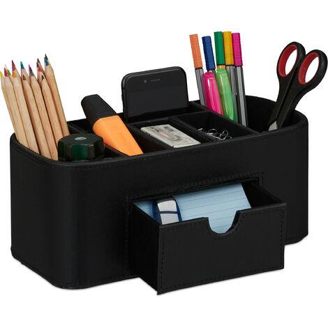 Rangement crayons, organiseur de bureau à l'apparence de cuir, 7 compartiments, 10,5 x 26 x 11,5 cm, noir