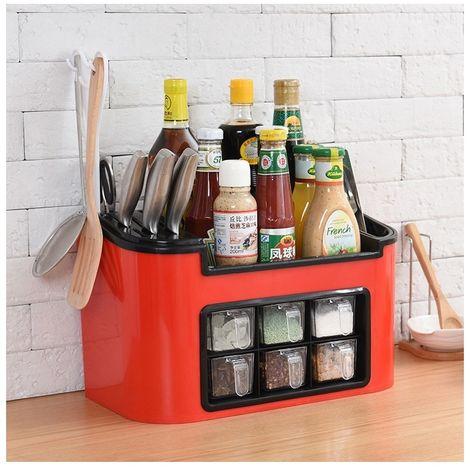 Rangement de Cuisine rouge Coffret multifonctionnel de en plastique mélange bouteille de condiment