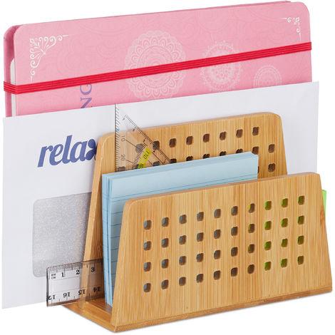 Rangement papiers bureau, Range-documents, Porte-lettres, 2 Compartiments courrier perforés, Format A5, nature