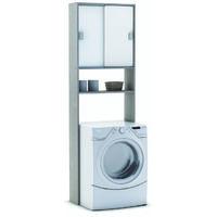 Rangement sanitaire 2 portes coulissantes Coloris chène champagne - Dim : 59.6 x 185 x 19.4 cm