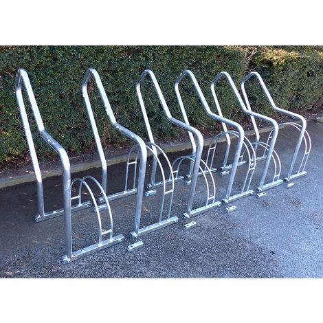 Range–vélos à arceaux, 6 emplacements - galvanisé à chaud