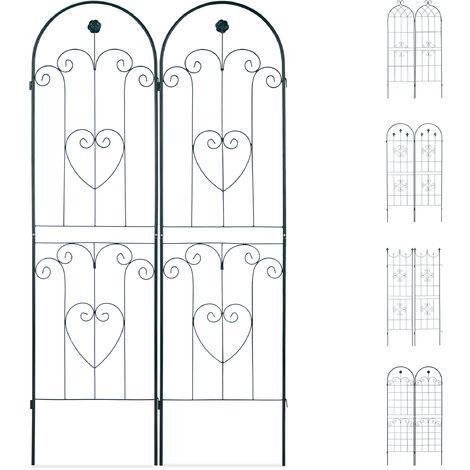 Rankgitter 2er Set, Metall, 180 x 50 cm, Rankhilfe Garten, Rundbogen, Blume & Herz, zum Stecken, dunkelgrün