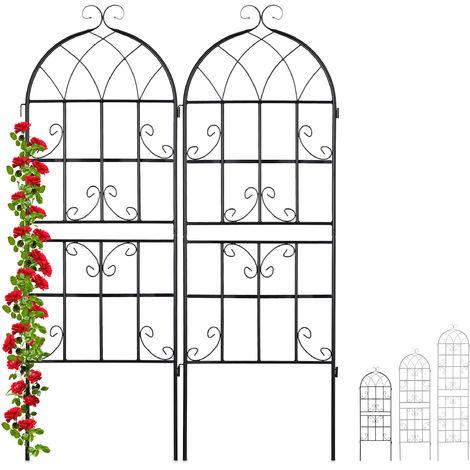Rankgitter Metall, 2er Set, zum Stecken, Rankhilfe für Kletterpflanzen, 150 x 50 cm, Spalier Garten, schwarz