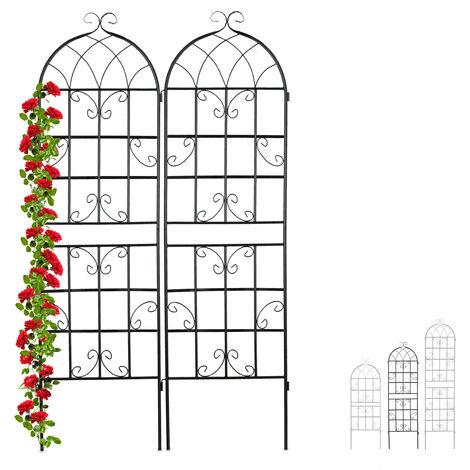 Rankgitter Metall, 2er Set, zum Stecken, Rankhilfe für Kletterpflanzen, 180 x 50 cm, Spalier Garten, schwarz