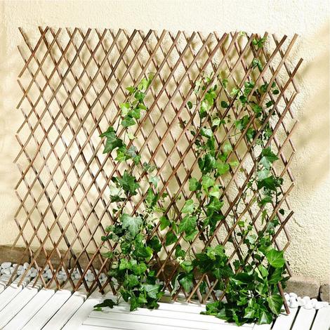 Rankgitter Sichtschutz 120 x 80 cm ausziehbar Pflanzstütze Naturweide Rankhilfe