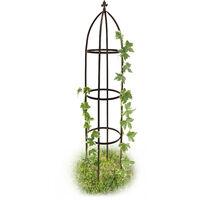 Rankhilfe Obelisk Metall 190 cm, Ranksäule witterungsbeständig freistehend f. Kletterpflanzen u. Rosen, braun