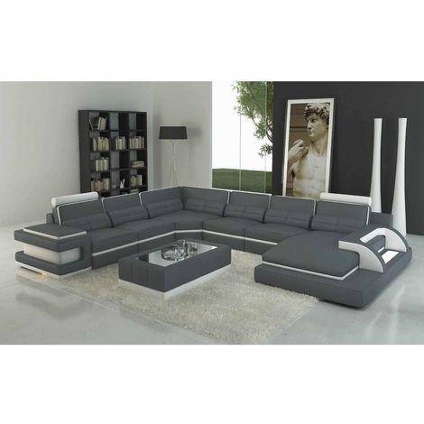 RANNA PANORAMIQUE - Canapé d'angle gauche panoramique design en cuir gris et blanc avec lumière intégrée