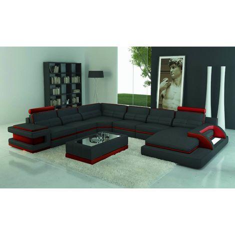 RANNA PANORAMIQUE - Canapé d'angle gauche panoramique design en cuir noir et rouge avec lumière intégrée